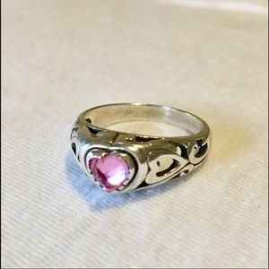 Vintage Sterling Silver Ring Size 8 Pink Heart 925
